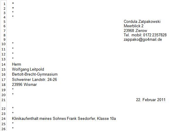 Datum Datumsangabe Privater Geschäftsbrief