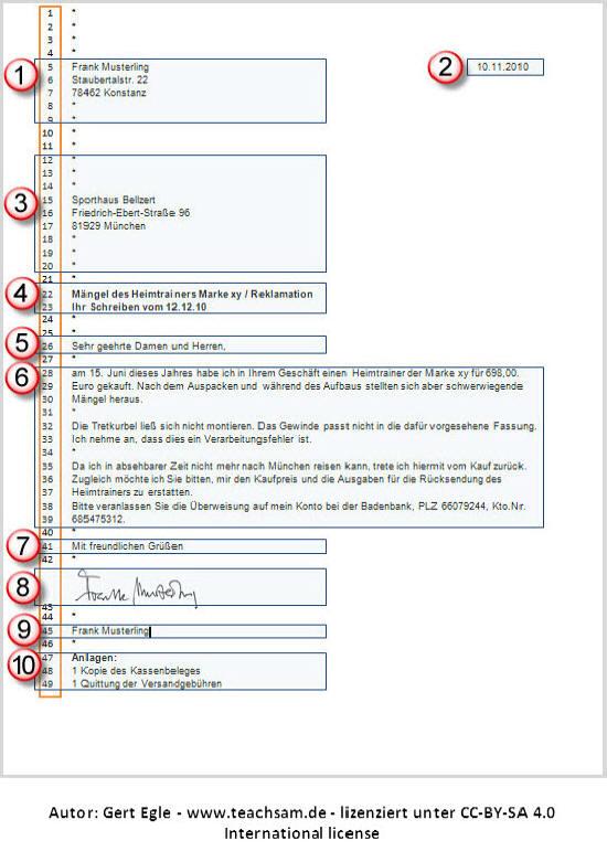 Beispielbrief Privater Geschäftsbrief